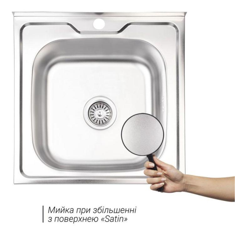 Кухонна мийка Lidz 5050 Satin 0,6 мм (LIDZ5050SAT06) - 3