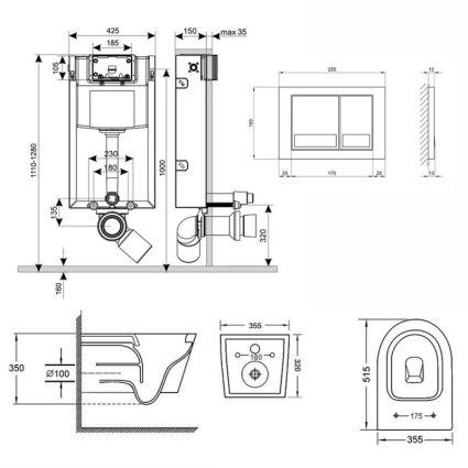 Набір Qtap інсталяція 3 в 1 Nest QT0133M425 з панеллю змиву квадратної QT0111M06029SAT + унітаз з сидінням Swan QT16335178W - 2
