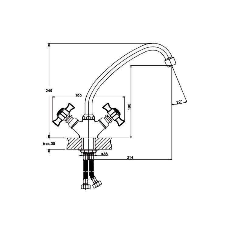 Змішувач для кухні HAIBA Zeus 271 NUT букса гумова - 2