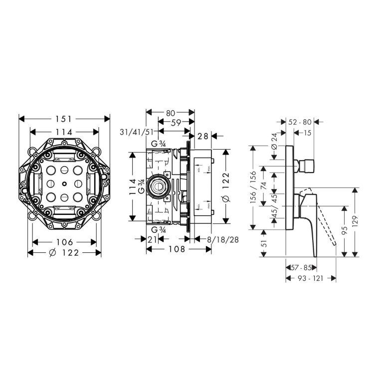METROPOL змішувач для ванни одноважільний, зовнішня частина, на споживача 2 + прихована частина IBOX universal для змішувача (в подарунок) - 2