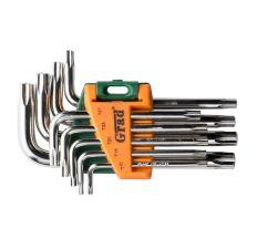 Ключи TORX 9шт T10-T50мм CrV (короткие с отвер) Grad (4022275)