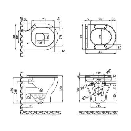 Унітаз підвісний Qtap Aries безободковый з сидінням Slim Soft-close QT0333063ERW - 2