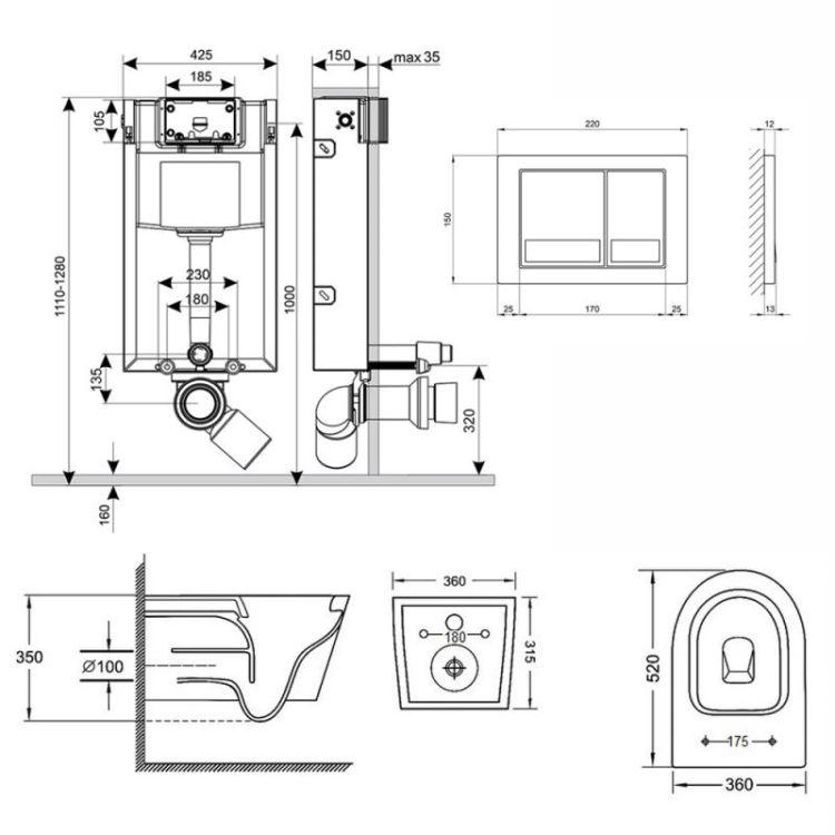 Набір Qtap інсталяція 3 в 1 Nest QT0133M425 з панеллю змиву квадратної QT0111M06029SAT + унітаз з сидінням Jay QT07335176W - 2