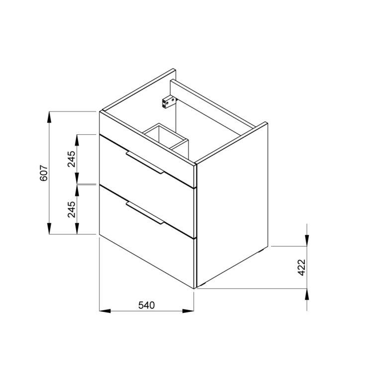SUIT тумба 540*422*620мм с раковиной, 1 отверстие под смеситель, 2 выдвижных шкафчика, цвет белый глянец - 2