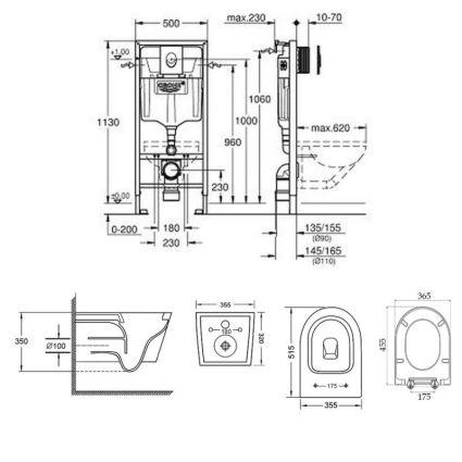 Набір інсталяція 4 в 1 Grohe Rapid SL 38721001 + унітаз з сидінням Qtap Swan QT16335178W - 2