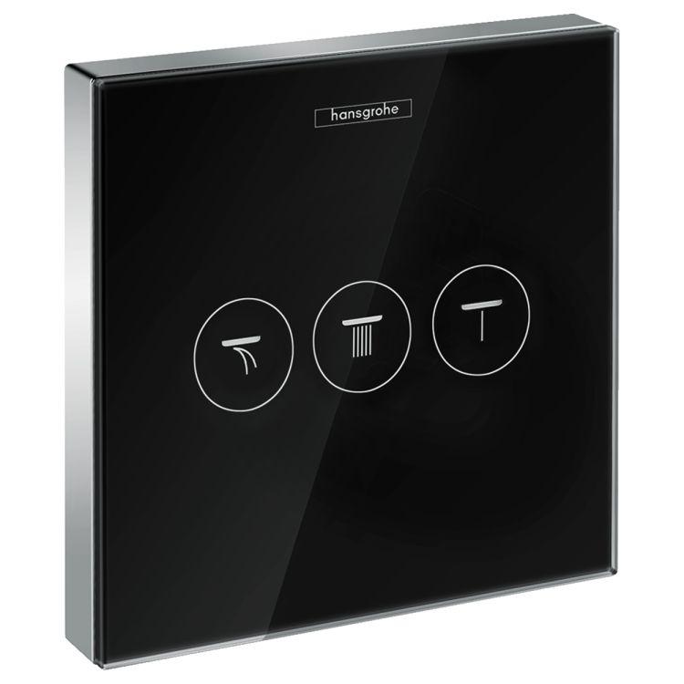 ShowerSelect Модуль с тремя запорными клапанами, стеклянный, черный/хром - 1