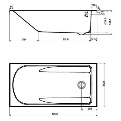 COMFORT PLUS ванна 160*80см прямокутна, з ніжками - 2