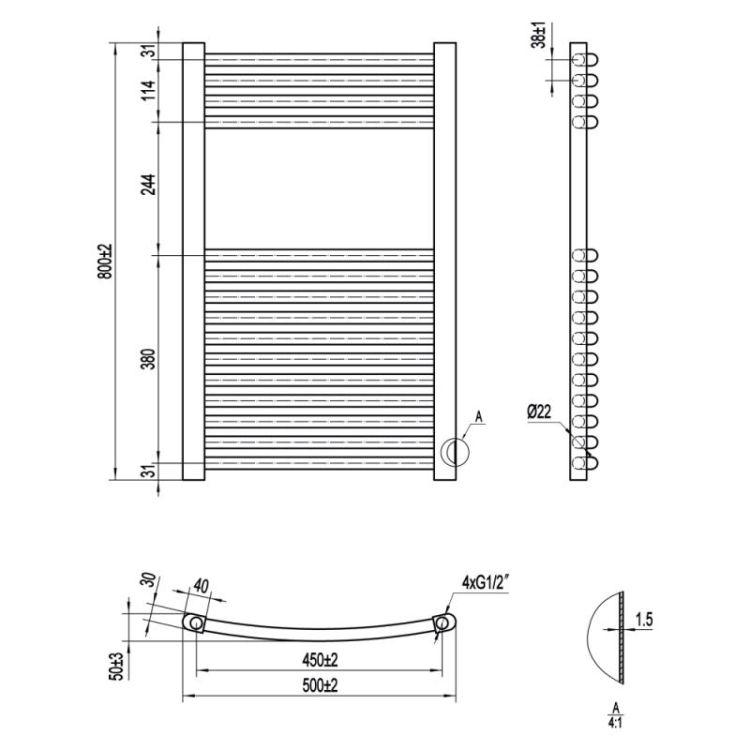 Рушникосушарка водяна Qtap Evia (SIL) P15 800x500 HY - 2