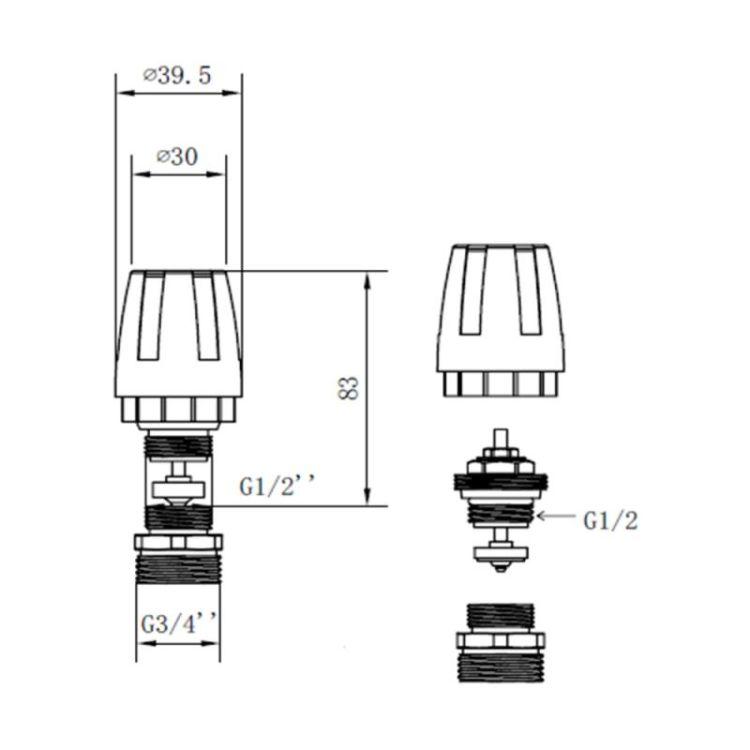 """Термостатичний Кран SD Forte 1/2""""х3/4"""" для колектора - 2"""