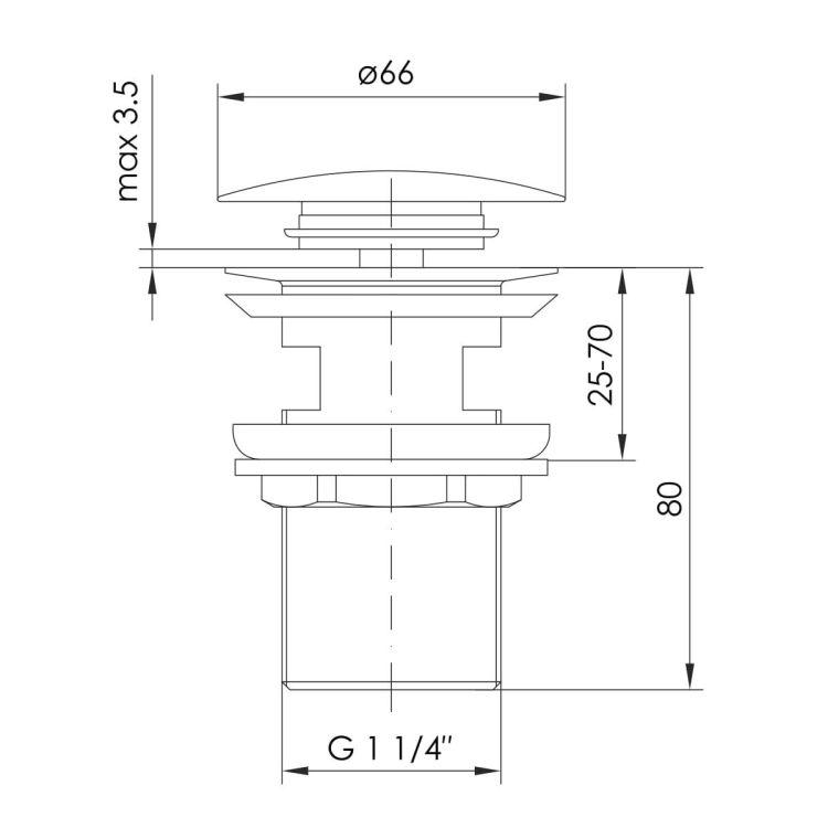BRENTA донний клапан Pop-up, нікель - 2
