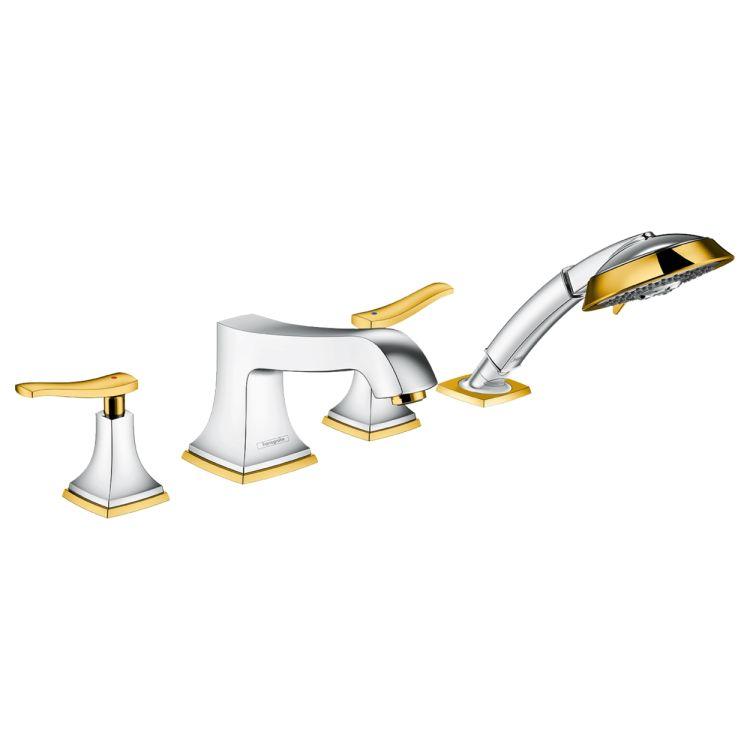 Metropol Classic Змішувач на край ванни, на 4 отвори, з важільними рукоятками, хром/золото - 1