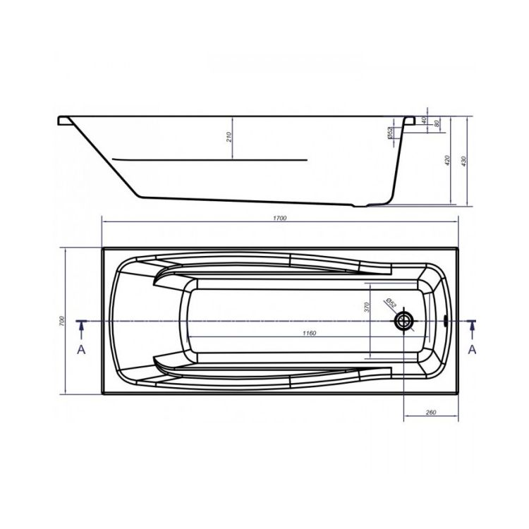 Ванна акрилова Cersanit LANА 170х70 з ніжками - 3