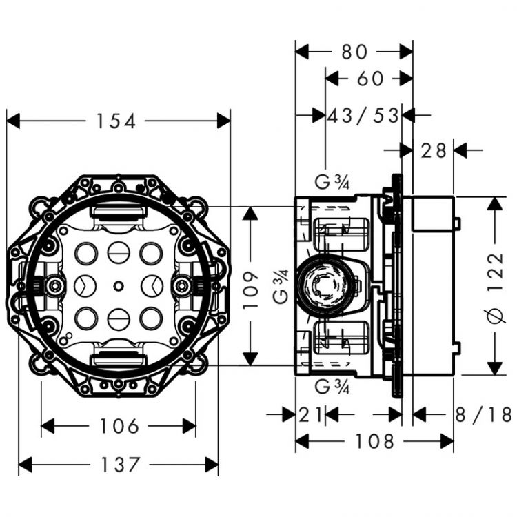 Прихована частина Ibox Universal з вбудованими запірними клапанами, ½/¾' - 2