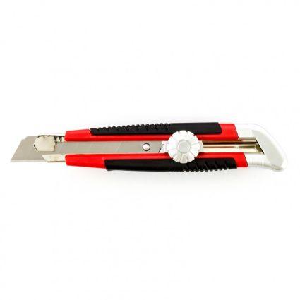 Нож, 18 мм, выдвижное лезвие, металлическая направляющая, винтовой фиксатор лезвия MTX 789149 - 1
