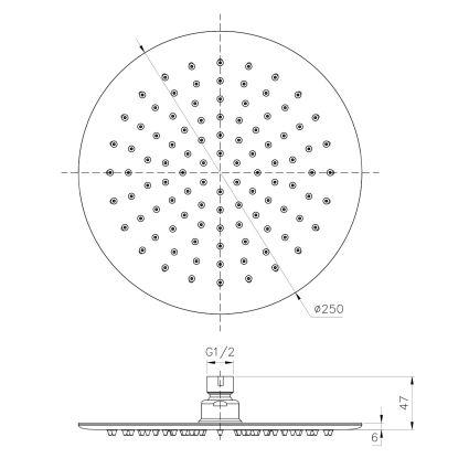 Душ верхний 250 мм , сталь - 2