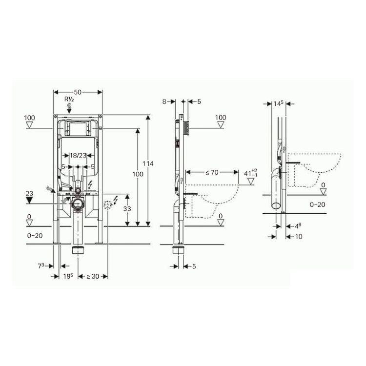 Duofix Монтажний елемент для підвісного унітазу, 114 см, зі змивним бачком прихованого монтажу Sigma 8 см - 2