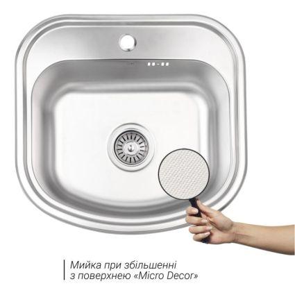 Кухонна мийка Lidz 4749 dekor 0,8 мм (LIDZ4749MICDEC) - 3