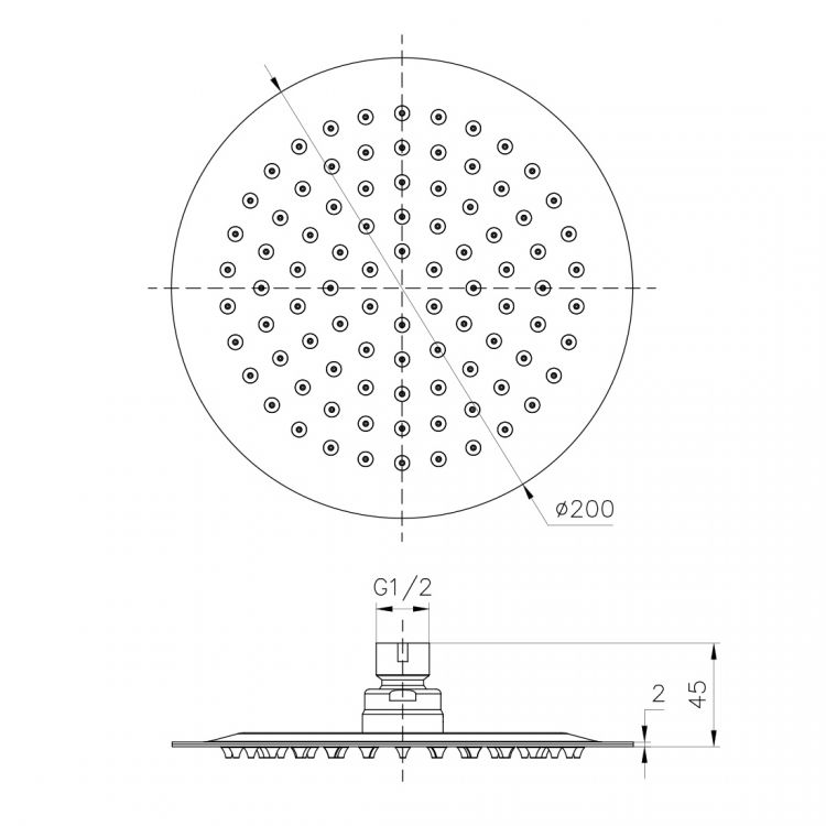 Душ верхний 200 мм, 2 мм, сталь - 2