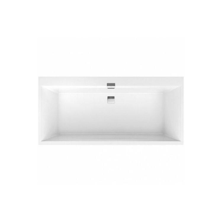 SQUARO EDGE 12 ванна 180*80см, с ножками и сливом-переливом, цвет white alpin - 1