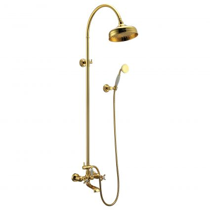 CUTHNA zlato система душова (двохвентильний змішувач для ванни, верхній та ручний душ), золото - 1