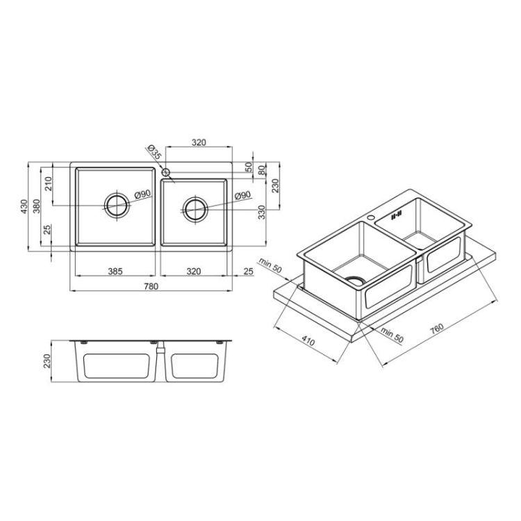 Кухонна мийка Lidz H7843 Brush 3.0/1.0 мм (LIDZH7843BRU3010) - 2