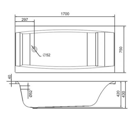 Ванна акрилова Cersanit Virgo 170x75 з ніжками - 4
