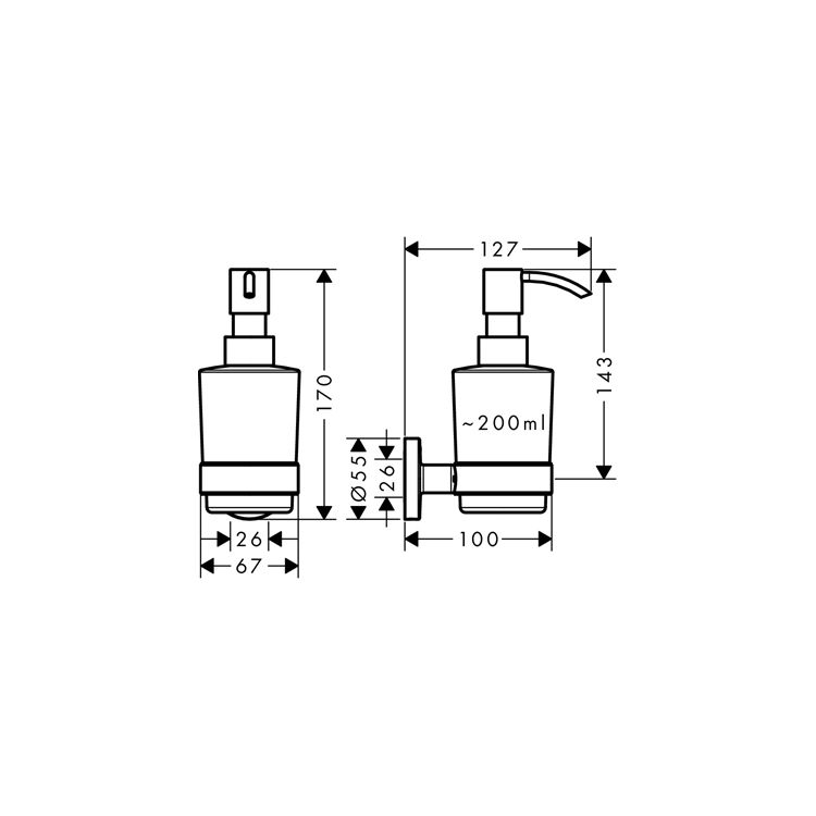 Logis Набор аксессуаров: крючок двойной, диспенсер, держатель туалетной бумаги, стакан, туалетная щётка (41725000+41714000+41723000+41718000+41722000) - 2
