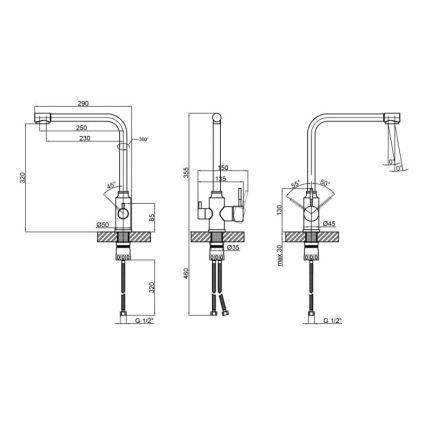 Змішувач для кухні з фільтром Lidz (NKS) 12 32 020F-13 - 2