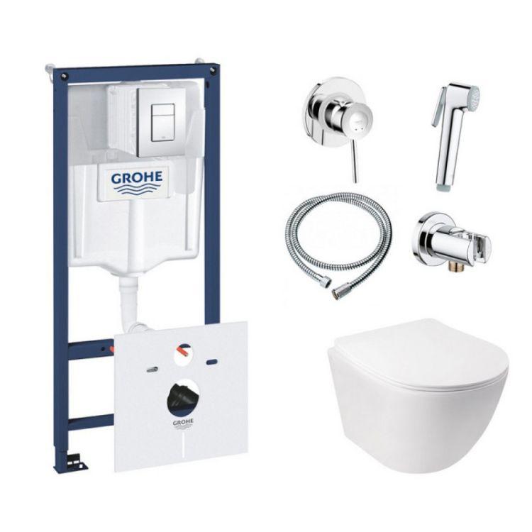 Комплект інсталяція Grohe Rapid SL 38827000 + унітаз з сидінням Qtap Jay QT07335176W + набір для гігієнічного душу зі змішувачем Grohe BauClassic 111048 - 1