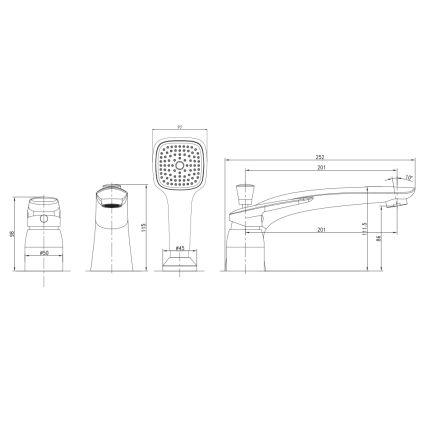 PRAHA new змішувач для ванни, врізний, на три отвори, хром, 35 мм - 2