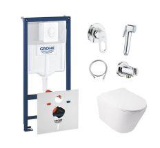 Комплект інсталяція Grohe Rapid SL 38722001 + унітаз з сидінням Qtap Swan QT16335178W + набір для гігієнічного душу зі змішувачем Grohe BauLoop 111042