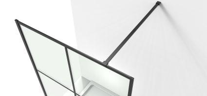 Malla Negra стінка Walk-In 1200*2000*8mm в комплекті з тримачем, профіль чорний матовий - 3