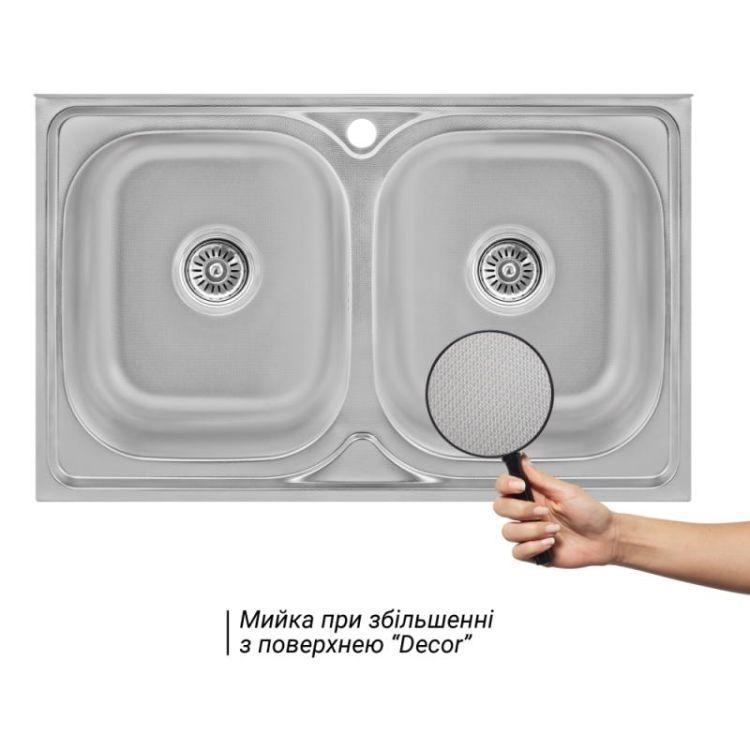 Кухонна мийка Lidz 5080 Decor 0,8 мм (LIDZ5080DEC08) - 3