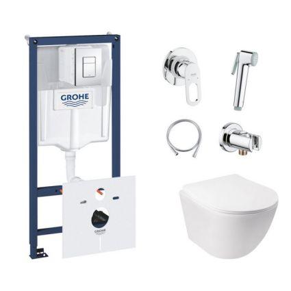 Комплект інсталяція Grohe Rapid SL 38827000 + унітаз з сидінням Qtap Jay QT07335176W + набір для гігієнічного душу зі змішувачем Grohe BauLoop 111042 - 1