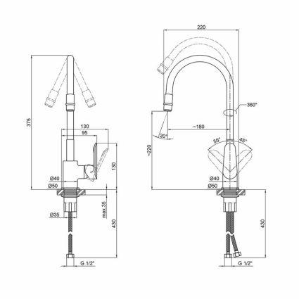 Змішувач для кухні з рефлекторним виливом Qtap Linea CRW 007F - 2