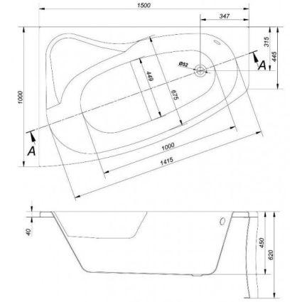 Ванна акрилова Cersanit SICILIA L 150х100 з ніжками - 3
