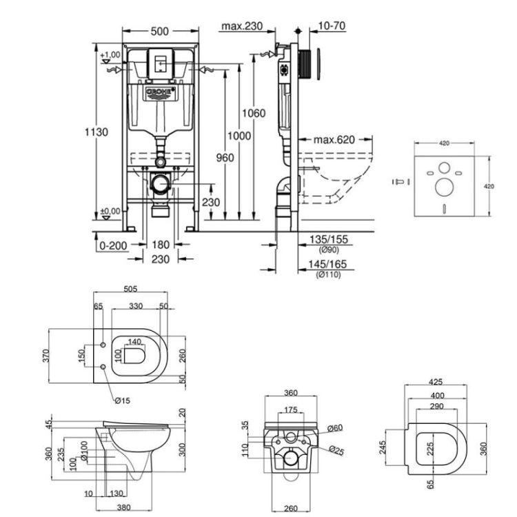 Набір інсталяція 5 в 1 Grohe Rapid SL 38827000 + унітаз з сидінням Qtap Lark QT0331159W - 2