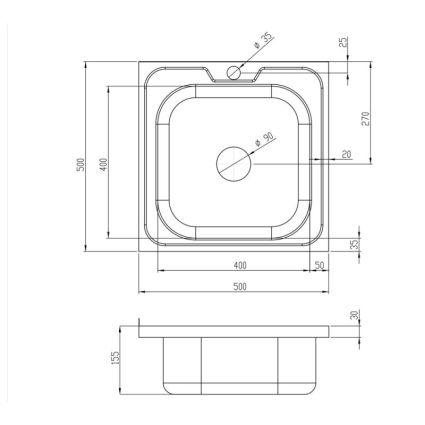 Кухонна мийка Lidz 5050 Satin 0,6 мм (LIDZ5050SAT06) - 2