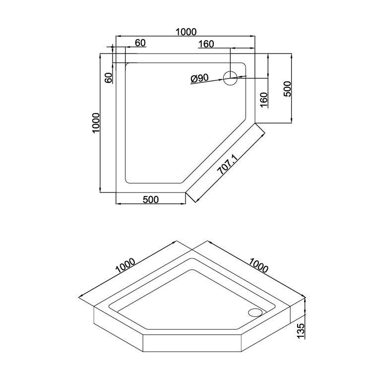 A LÁNY піддон п'ятикутний акриловий 1000*1000*135мм, в комплекті з сифоном (антизапах) - 2
