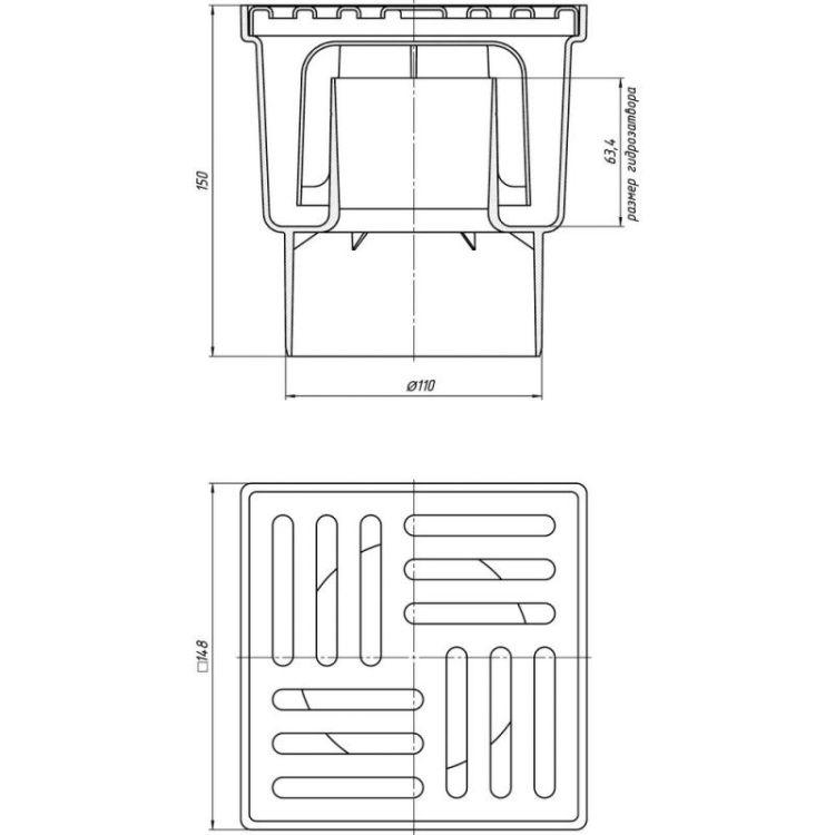 ТА1212/WTA1212 Трап вертик. выпуск 110 мм с нерж. решеткой 15х15 см - 2
