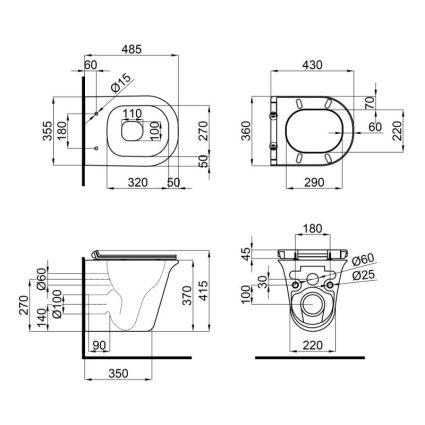Унітаз підвісний Qtap Virgo безободковый з сидінням Slim Soft-close QT1833051ERW - 2