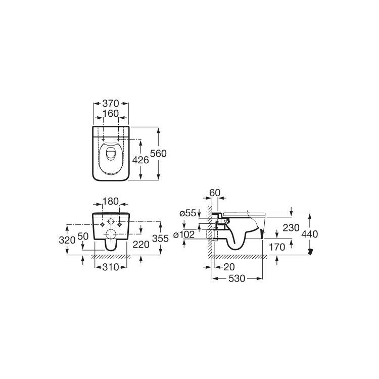INSPIRA Square унітаз 370*560*440мм, підвісний, квадратний, Rectangular, горизонтальний випуск - 2