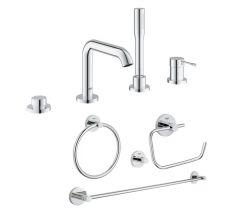Комплект Grohe смеситель для ванны Essence 19578001 + набор аксессуаров Essentials 40823001