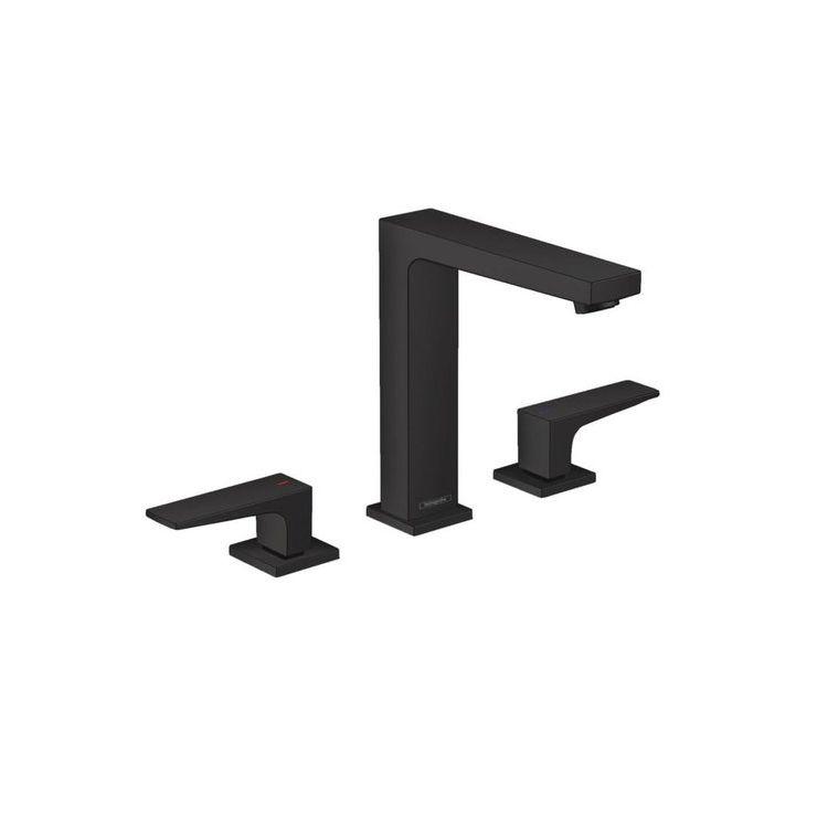 METROPOL змішувач для умивальника 160, на 3 отвори, з рычаговыми рукоятками, із зливним клапаном Push-Open, чорний матовий - 1