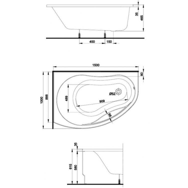 PROMISE ванна асиметрична 150*100 см, ліва, біла, з ніжками SN7 - 2