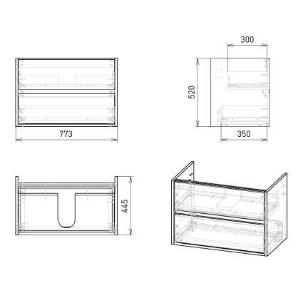 TEO комплект меблів 80см бетон: тумба підвісна, 2 ящика + умивальник накладний арт 15-88-080 - 3