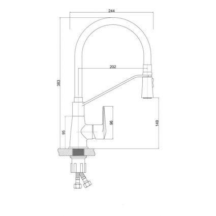Змішувач для кухонного миття Q-tap Estet CRW 007F - 2