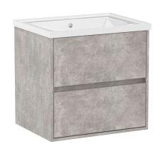 TEO комплект мебели 65см бетон: тумба подвесная, 2 ящика + умывальник накладной арт 15-88-060