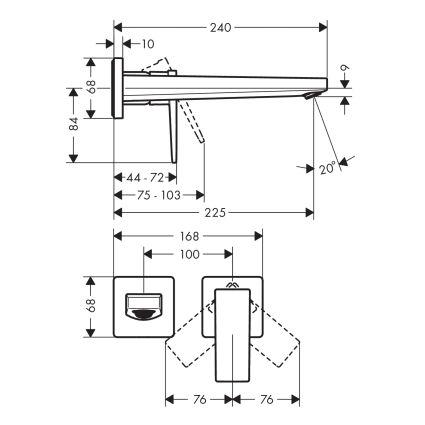 Metropol Смеситель для раковины однорычажный с изливом 225 мм, настенный монтаж, хром - 2