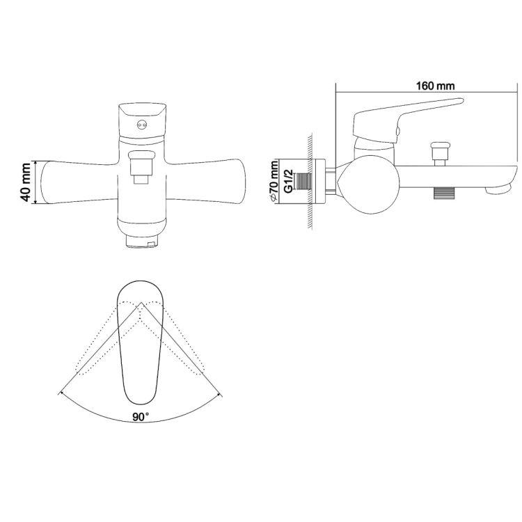 BUTTERFLY смеситель для ванны однорычажный, хром 35 мм - 2